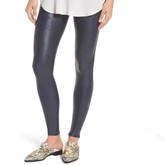 afb55239f Spanx Faux Leather Leggings Night Navy Blue. M 5b466a5d45c8b3a3fbebc540